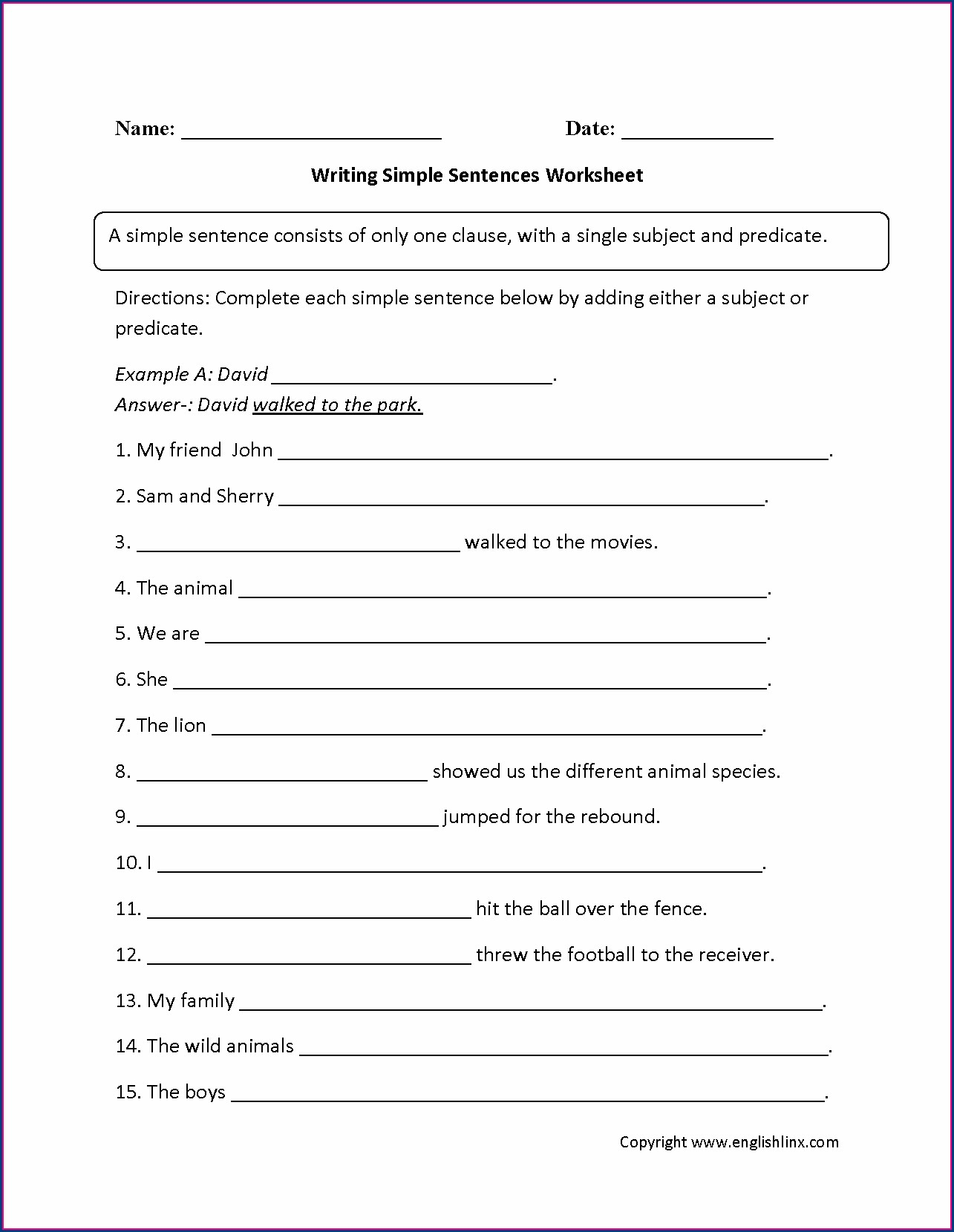 Grade 5 English Language Worksheet
