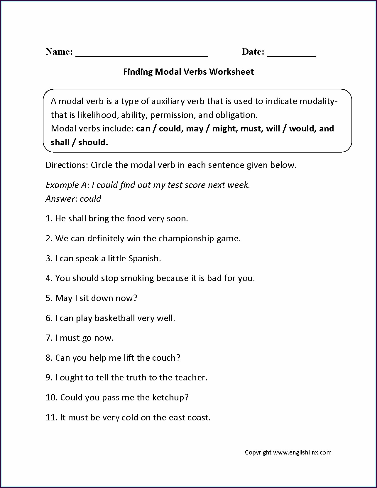 Grade 5 Language Worksheets