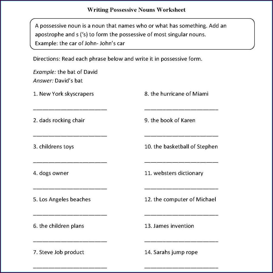 Grade 6 English Language Worksheets