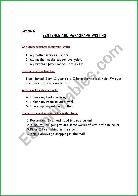 Grade 6 English Writing Worksheets