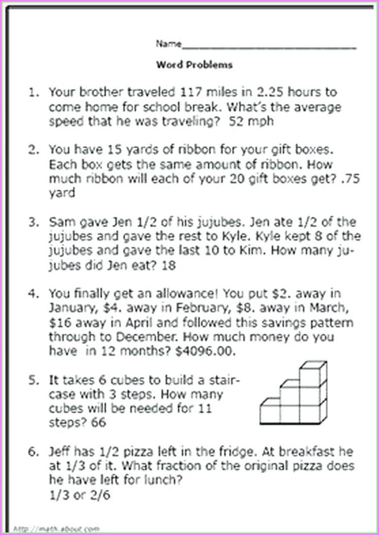 Grade 6 Math Worksheets Algebra Word Problems
