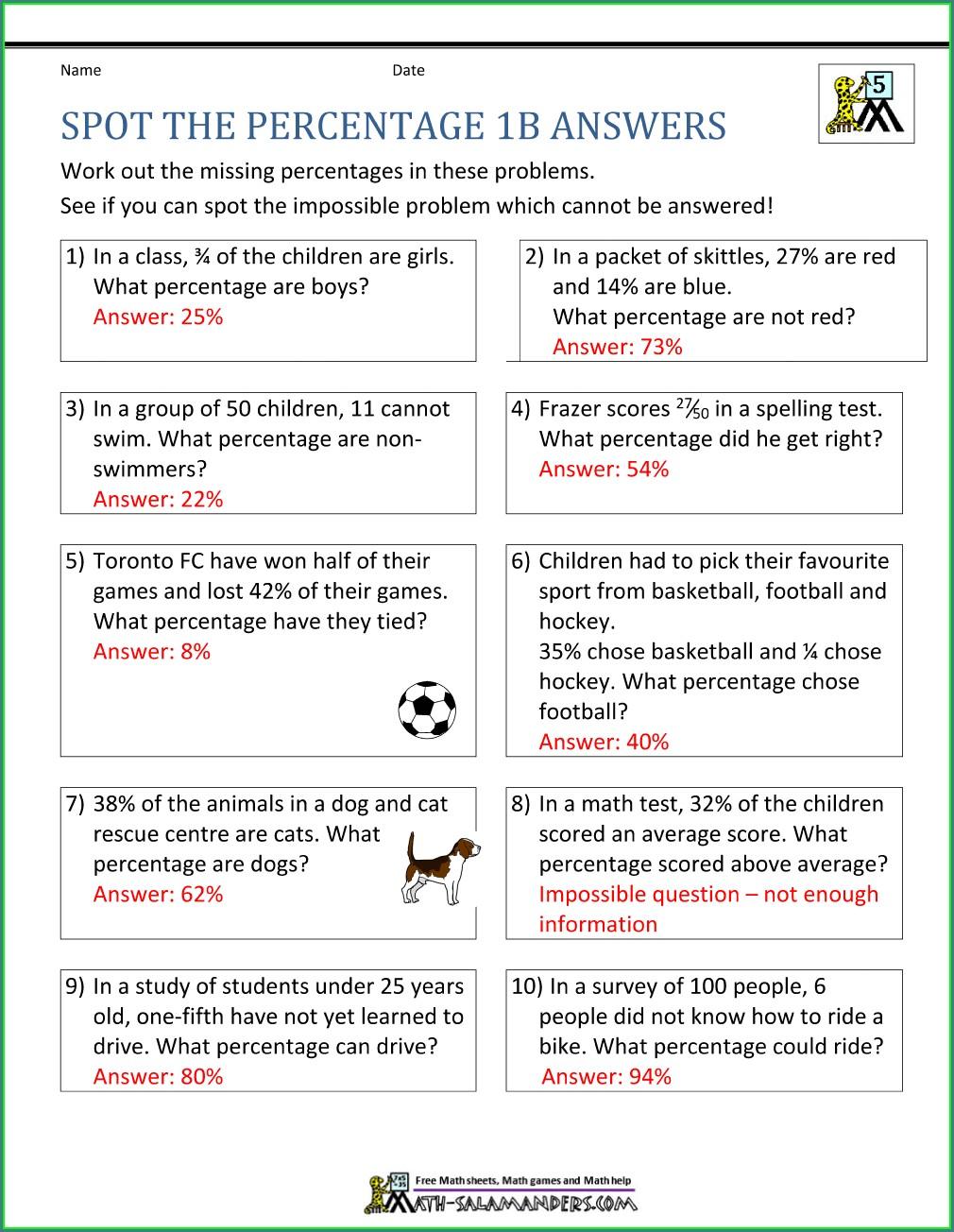 Grade 7 Percent Word Problems Worksheet