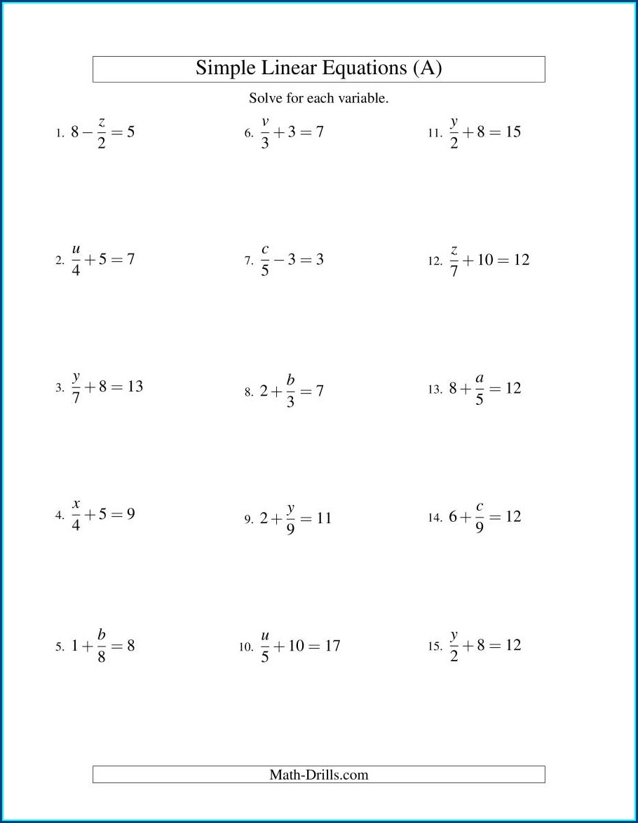 Grade 8 Linear Equations Worksheet With Answers Pdf