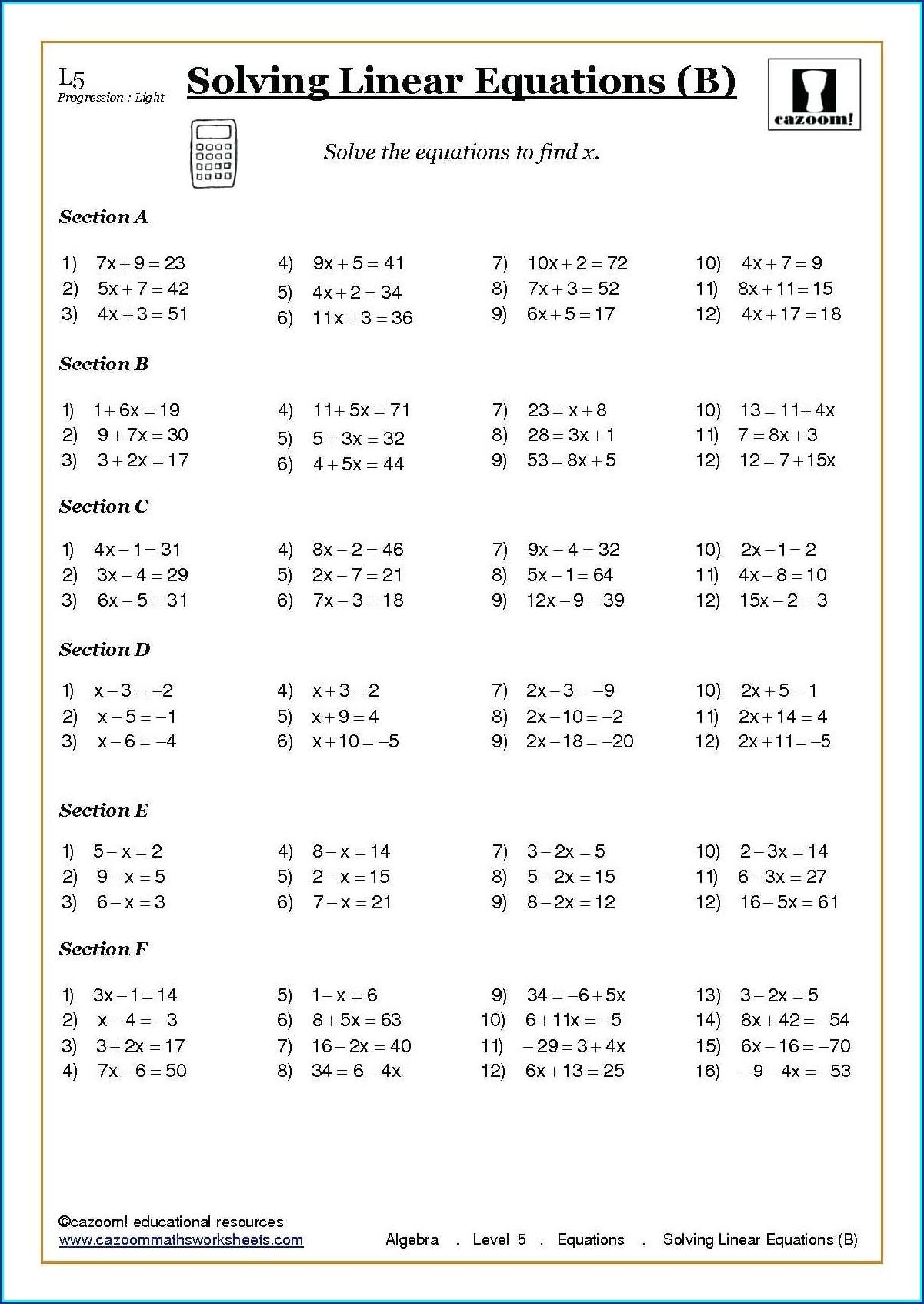 Grade 8 Linear Equations Worksheet