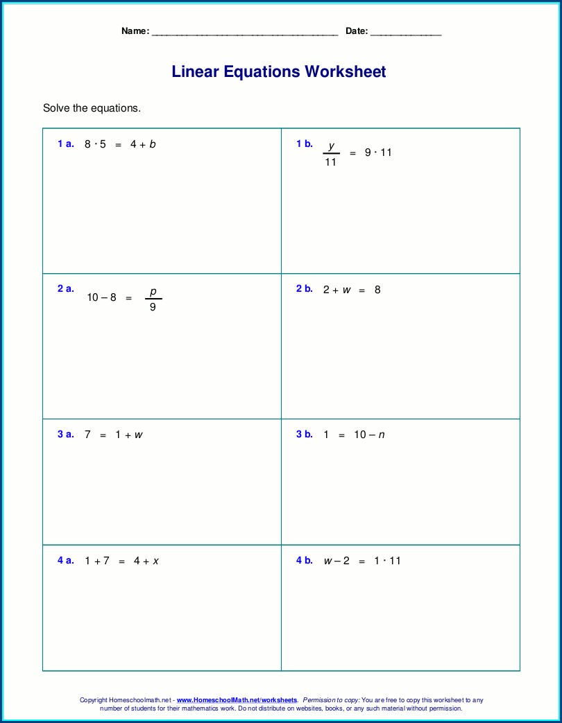 Grade 8 Math Solving Equations Worksheets