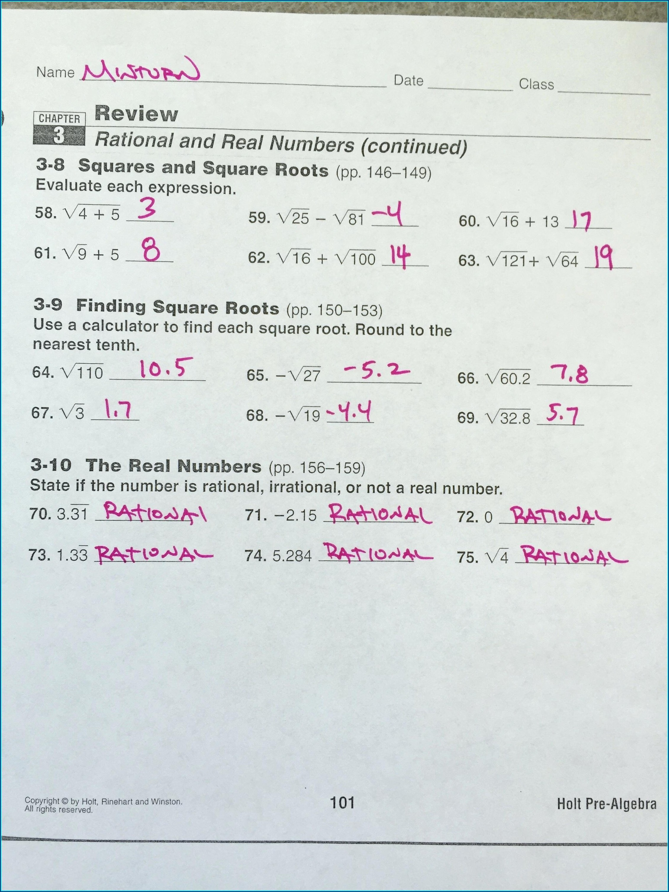 Grade 8 Rational Numbers Worksheet