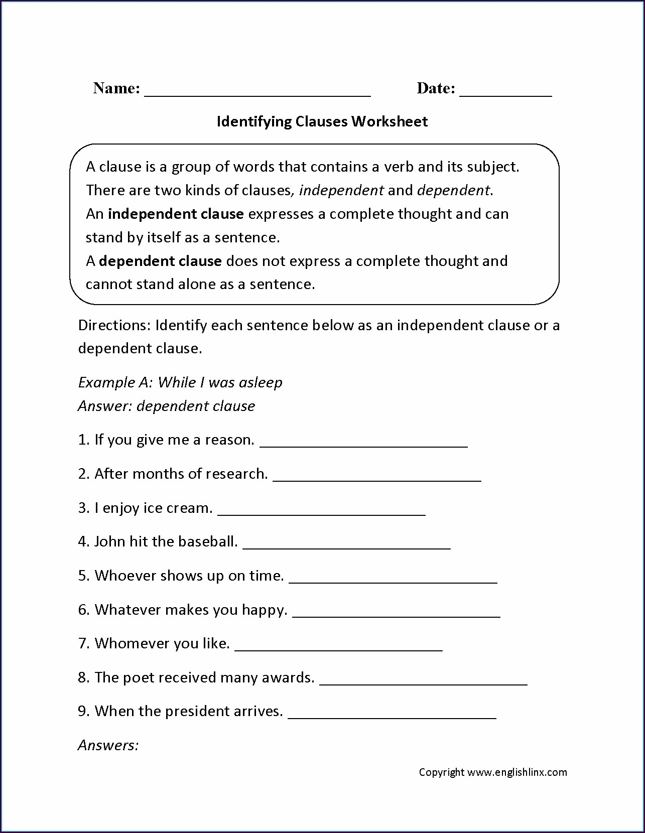 Grade 9 9th Grade English Worksheets Pdf