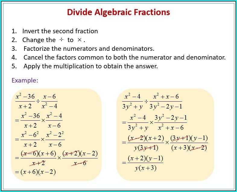 Grade 9 Algebraic Fractions Worksheet