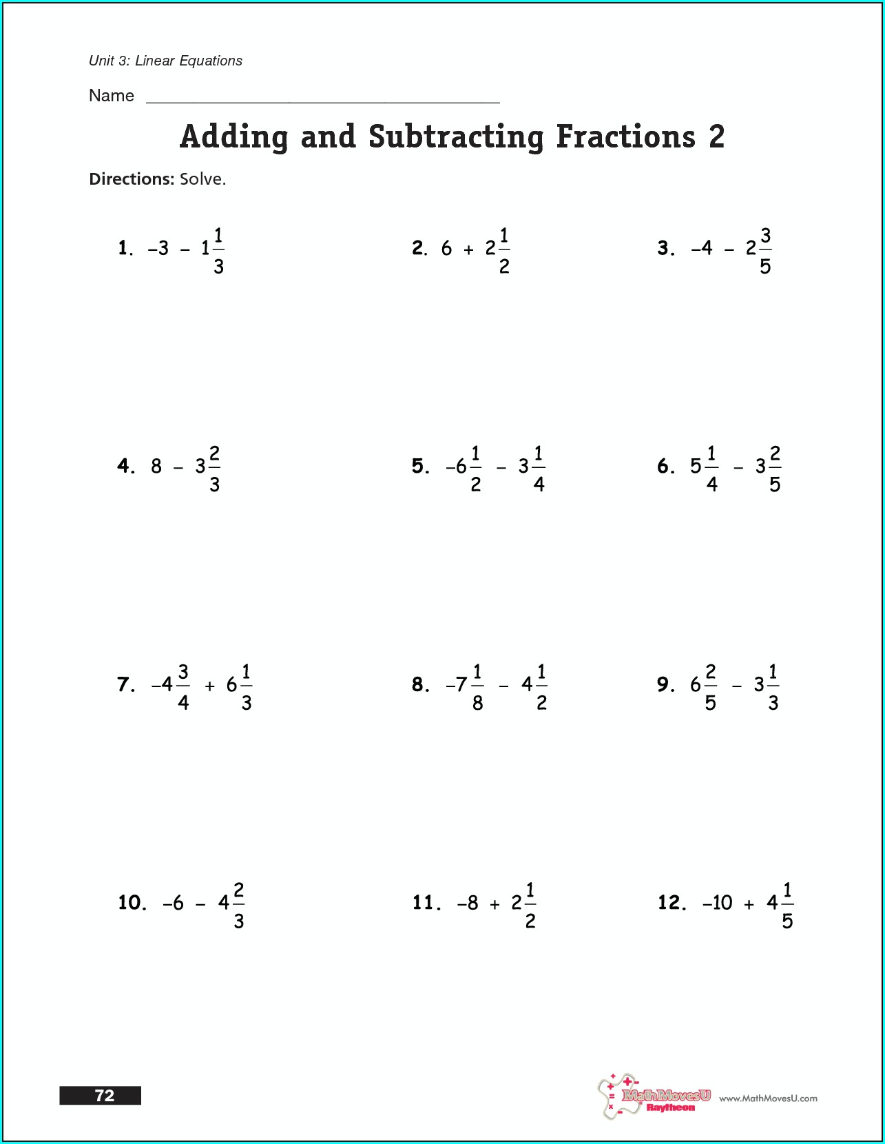 Grade 9 Equations With Fractions Worksheet