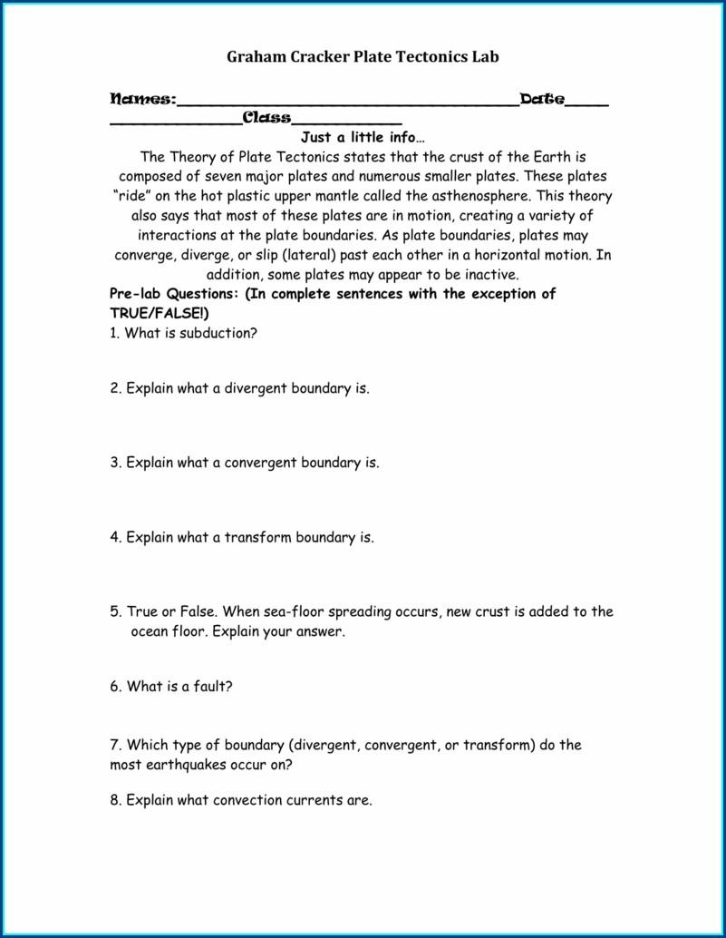 Graham Cracker Plate Tectonics Lab Worksheet