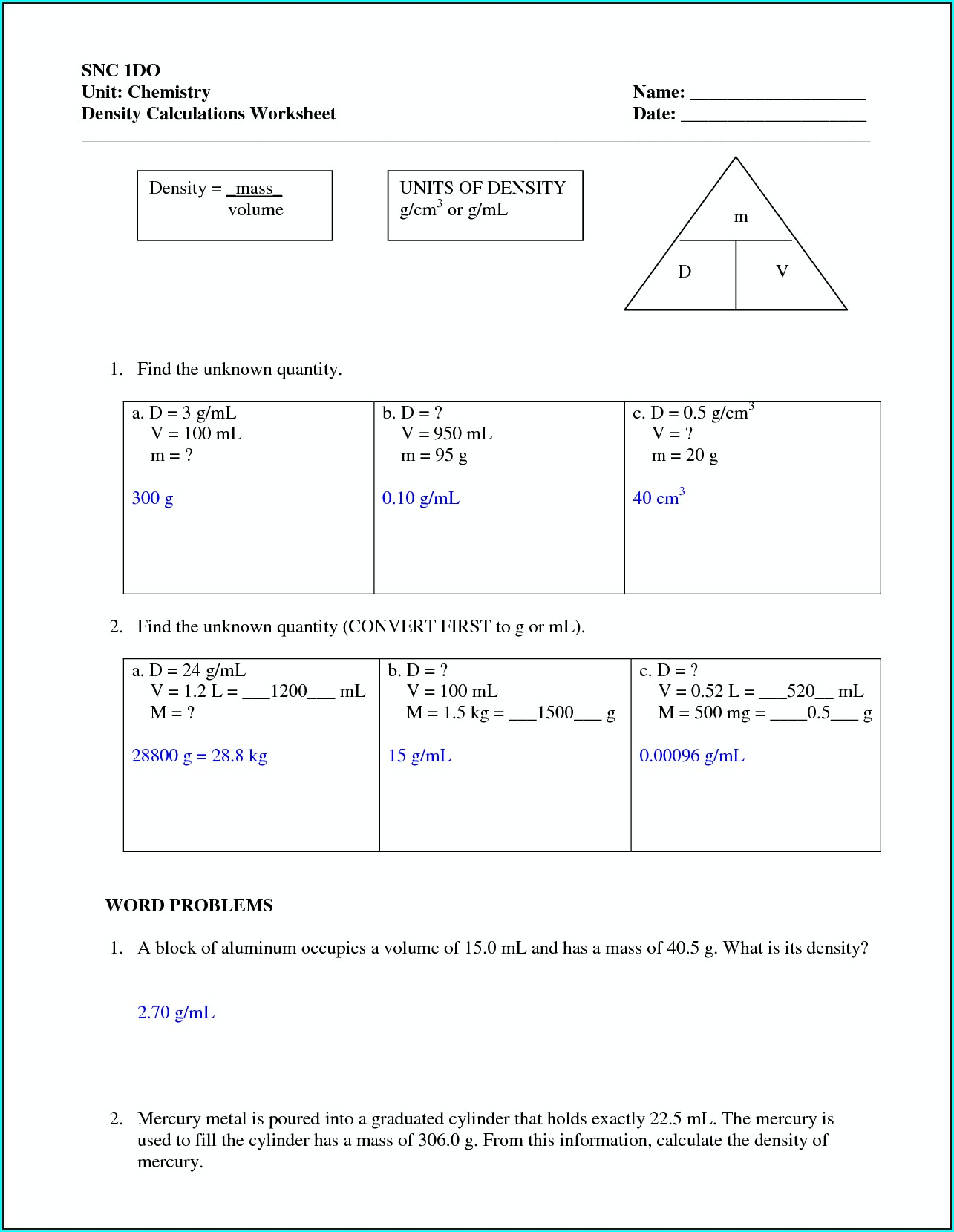 Graphing Density Worksheet Answer Key