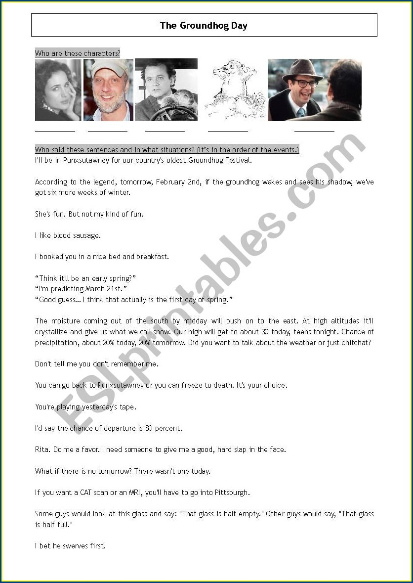 Groundhog Day Movie Worksheets
