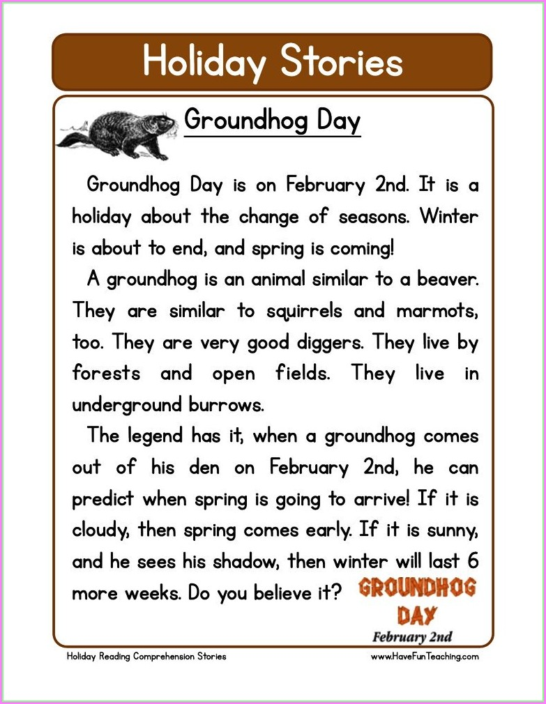 Groundhog Day Worksheets 5th Grade
