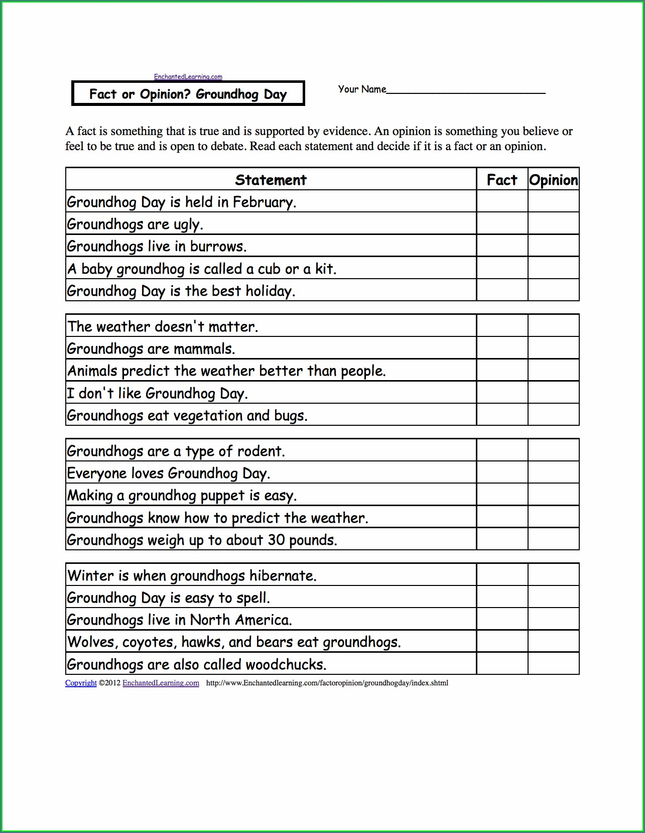 Groundhog Day Worksheets Pdf