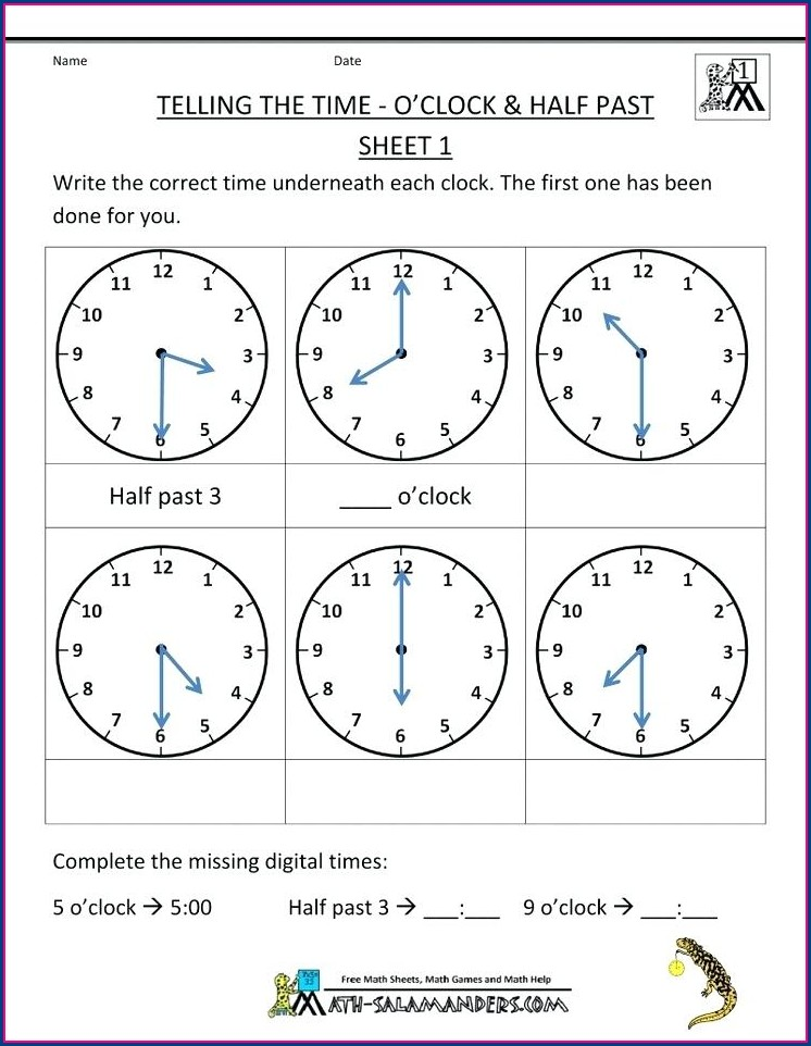 Half Past Telling Time Worksheets Grade 1