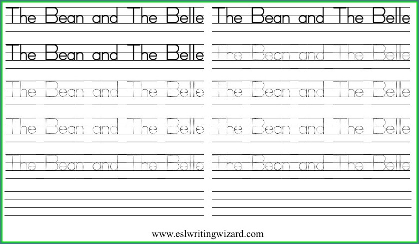 Handwriting Worksheet Generator Esl