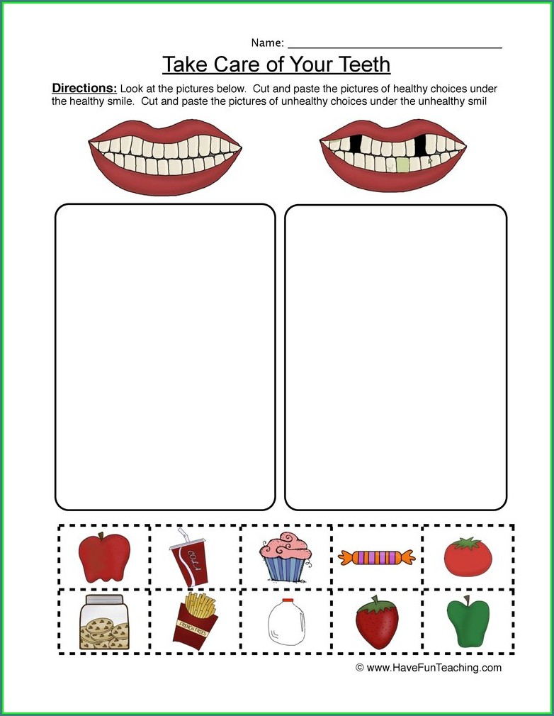 Healthy Living Worksheets For Kindergarten