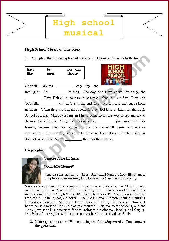 High School Musical Worksheet