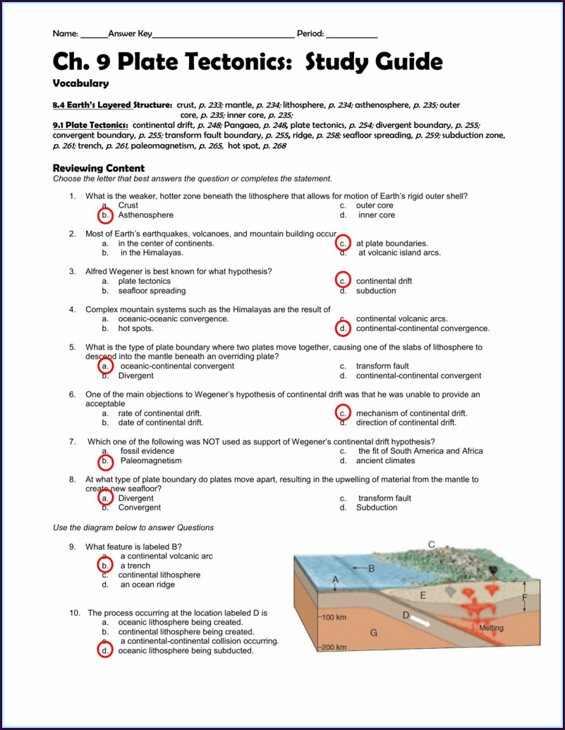 High School Plate Tectonics Review Worksheet