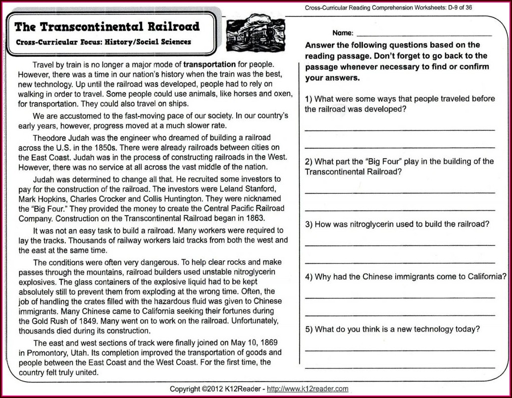 High School Reading Comprehension Worksheets Pdf