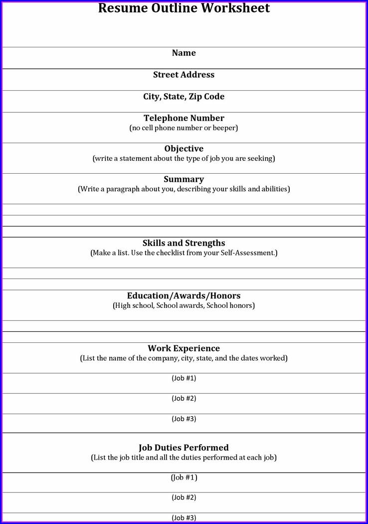 High School Student Resume Outline Worksheet