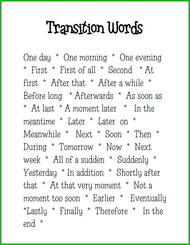 High School Transitional Words And Phrases Worksheet