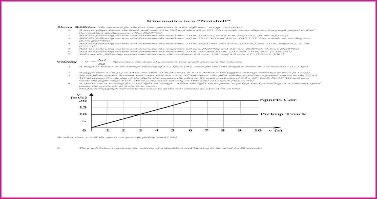 High School Vector Addition Worksheet