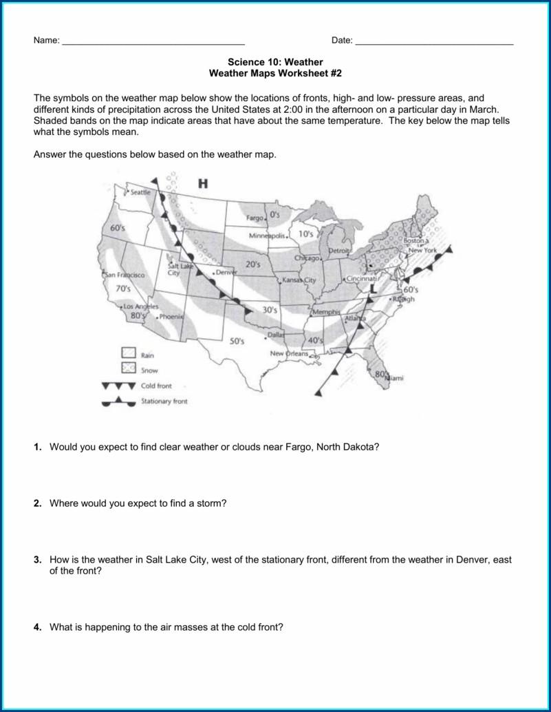High School Weather Map Worksheet