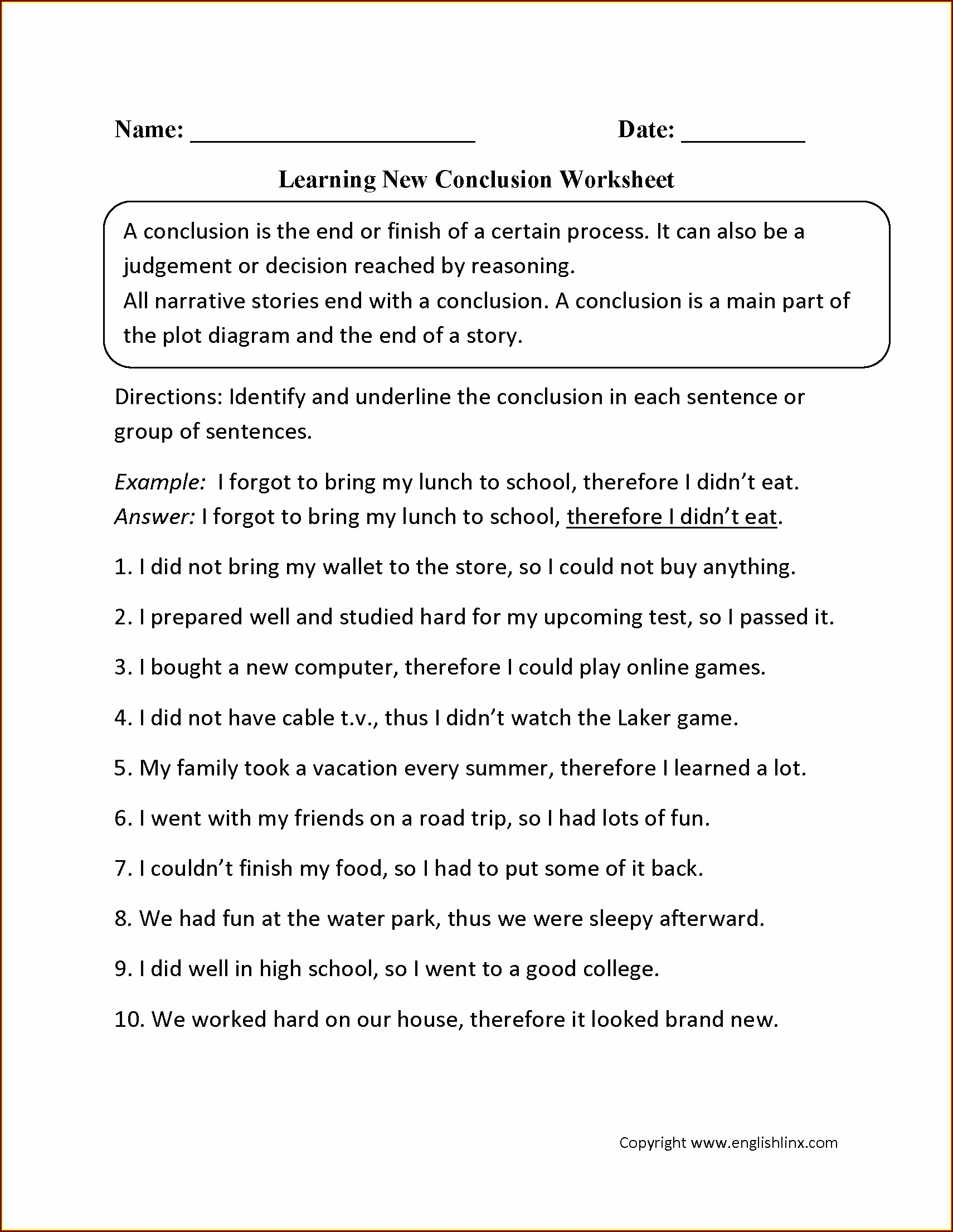 High School Writing Conclusions Worksheet