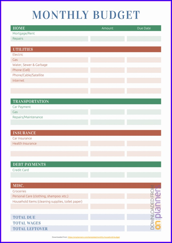 Home Budget Plan Worksheet