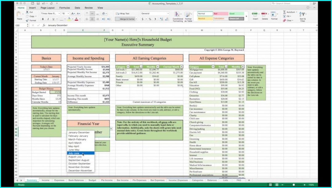 Home Budget Worksheet Excel Template