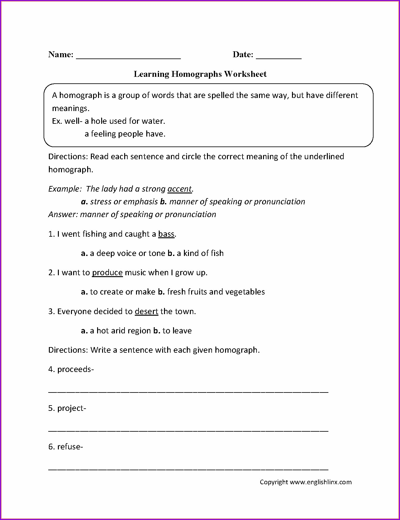 Homograph Worksheet Second Grade