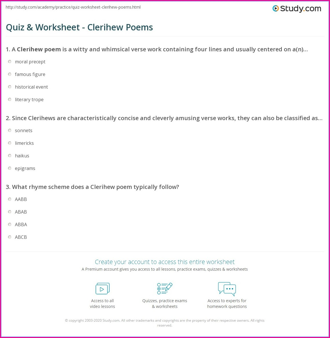 How To Write A Clerihew Poem Worksheet