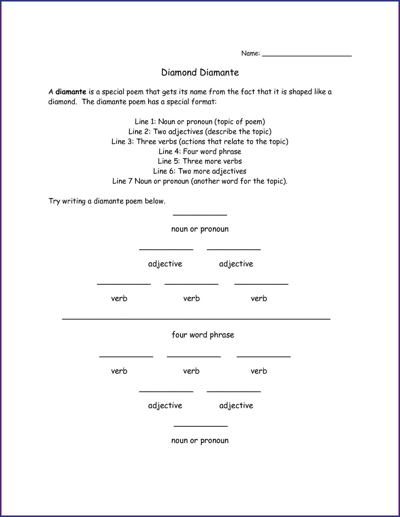 How To Write A Diamante Poem Worksheet