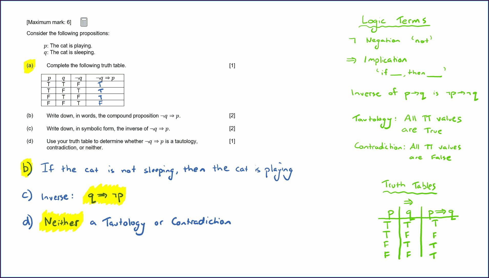 Ib Math Studies Logic Worksheets