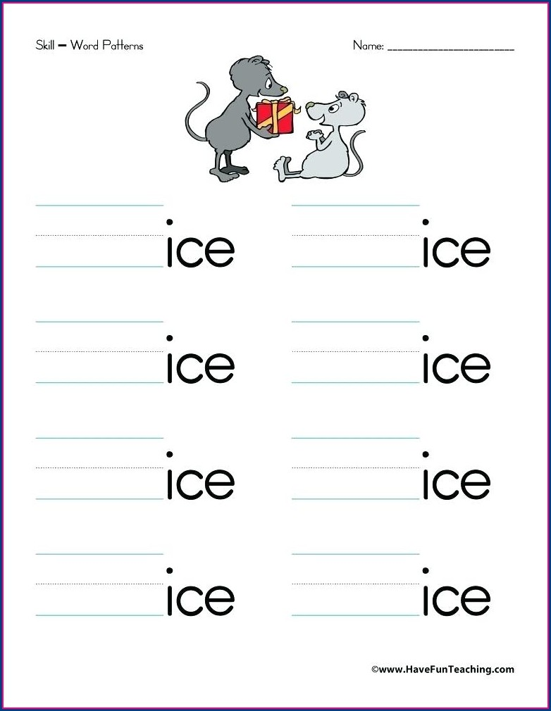 Ice Word Family Worksheets