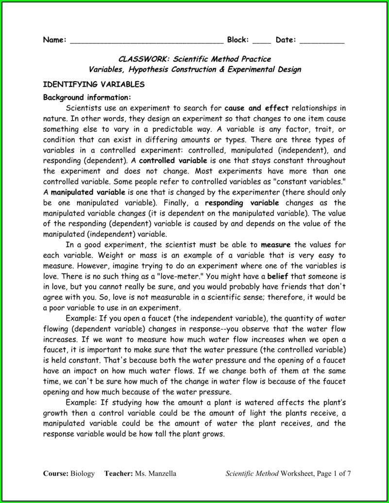 Identify Scientific Method Worksheet