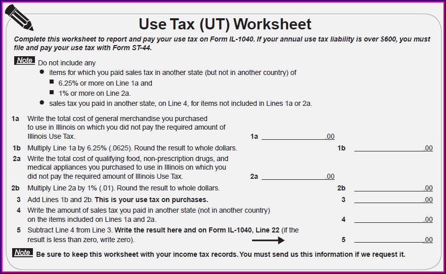 Illinois Tax Ut Worksheet