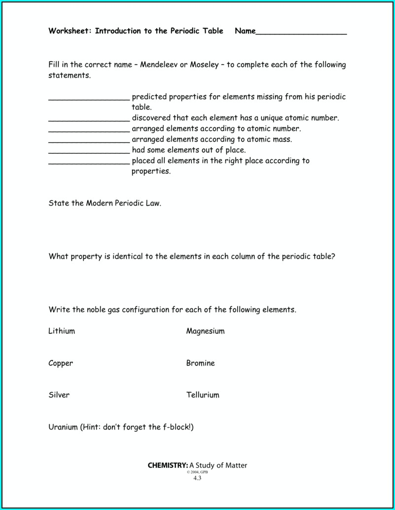 Intro To Periodic Table Worksheet