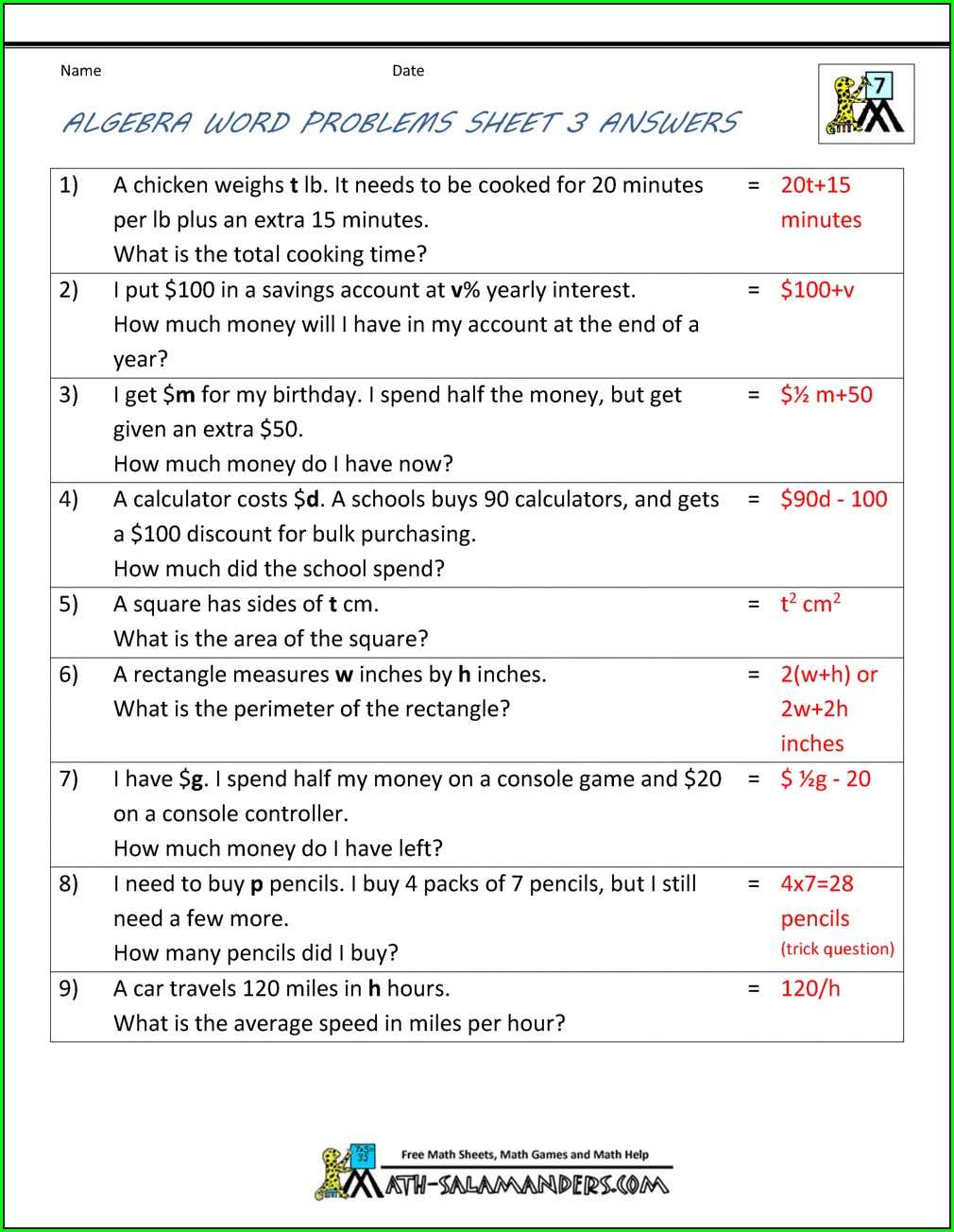 Introduction To Algebra Class 6 Worksheet