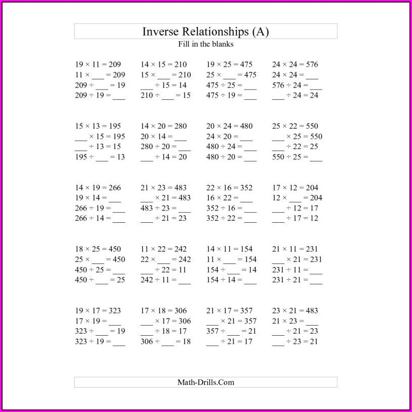 Inverse Multiplication And Division Worksheet