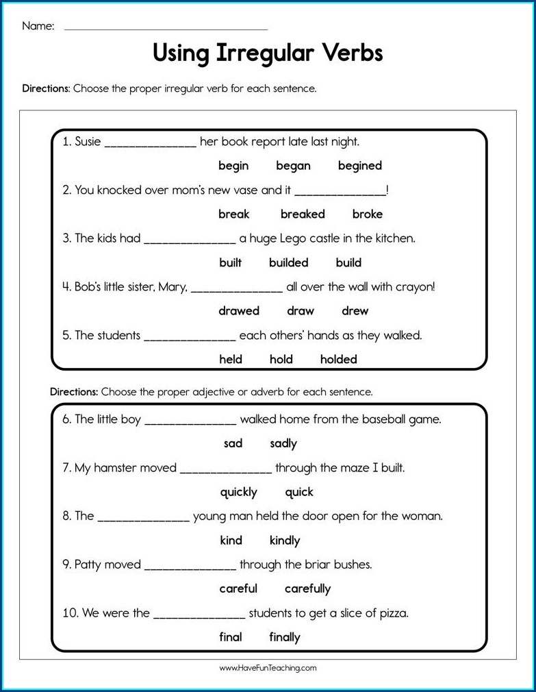 Irregular Verbs Worksheet Grade 1