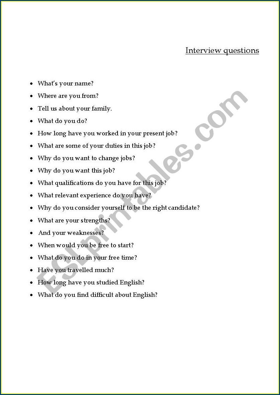 Job Interview Esl Interview Questions Worksheet