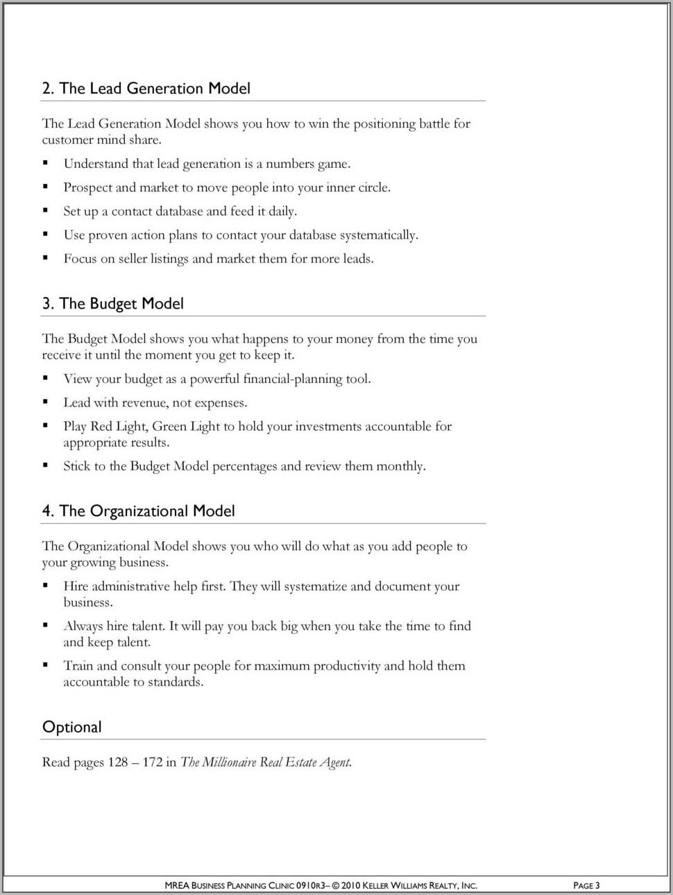 Keller Williams Goal Setting Worksheet