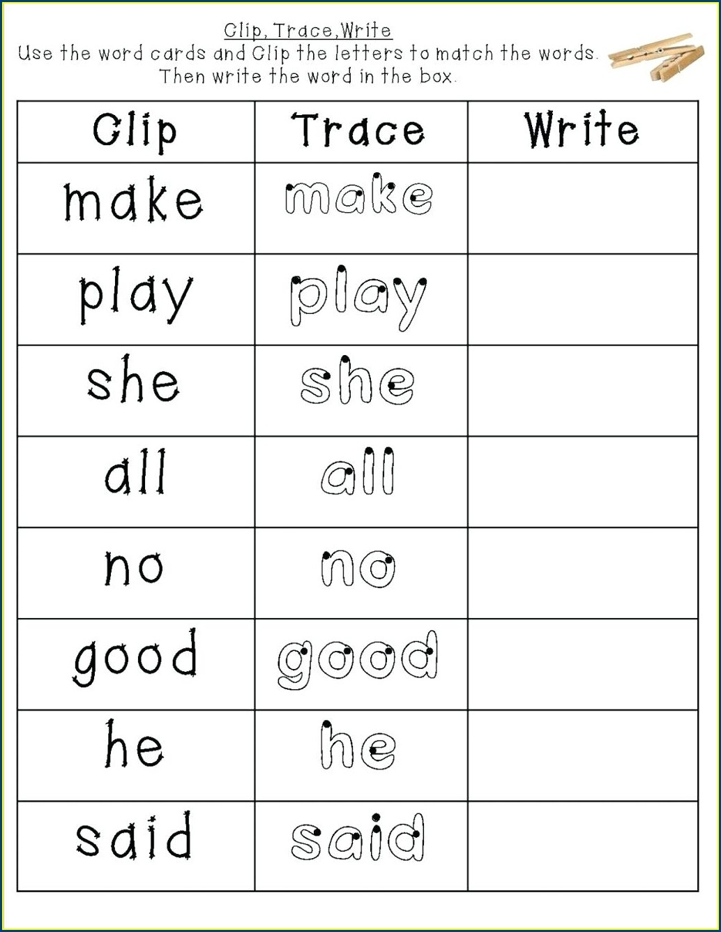 Kindergarten Basic Sight Words Worksheets
