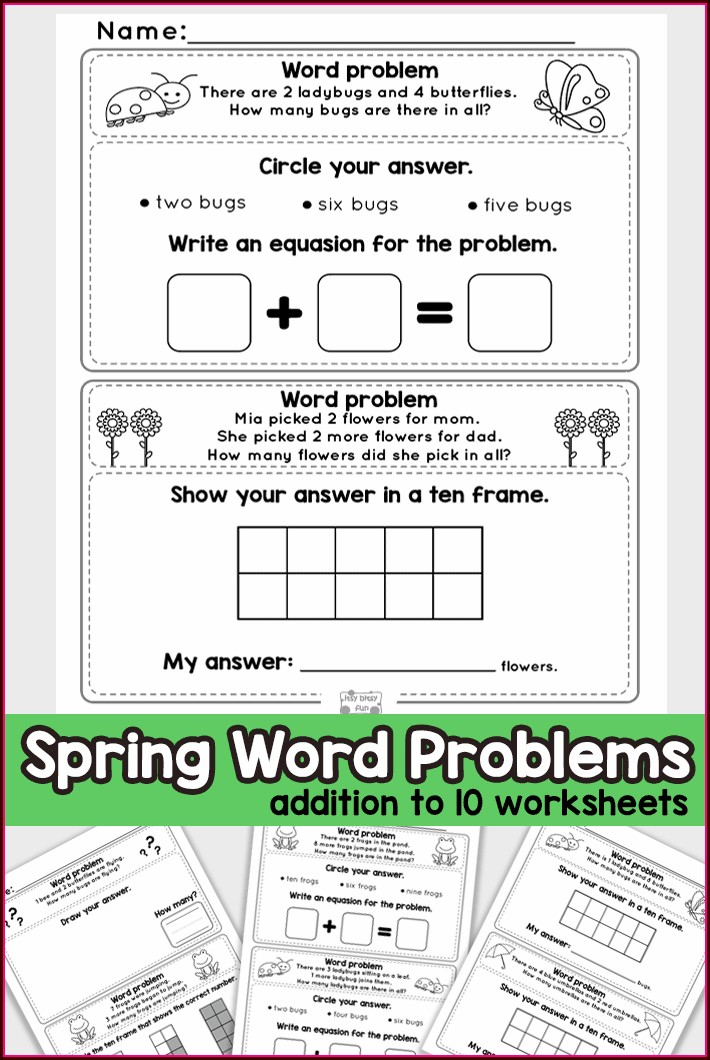 Kindergarten Math Addition Word Problems Worksheets