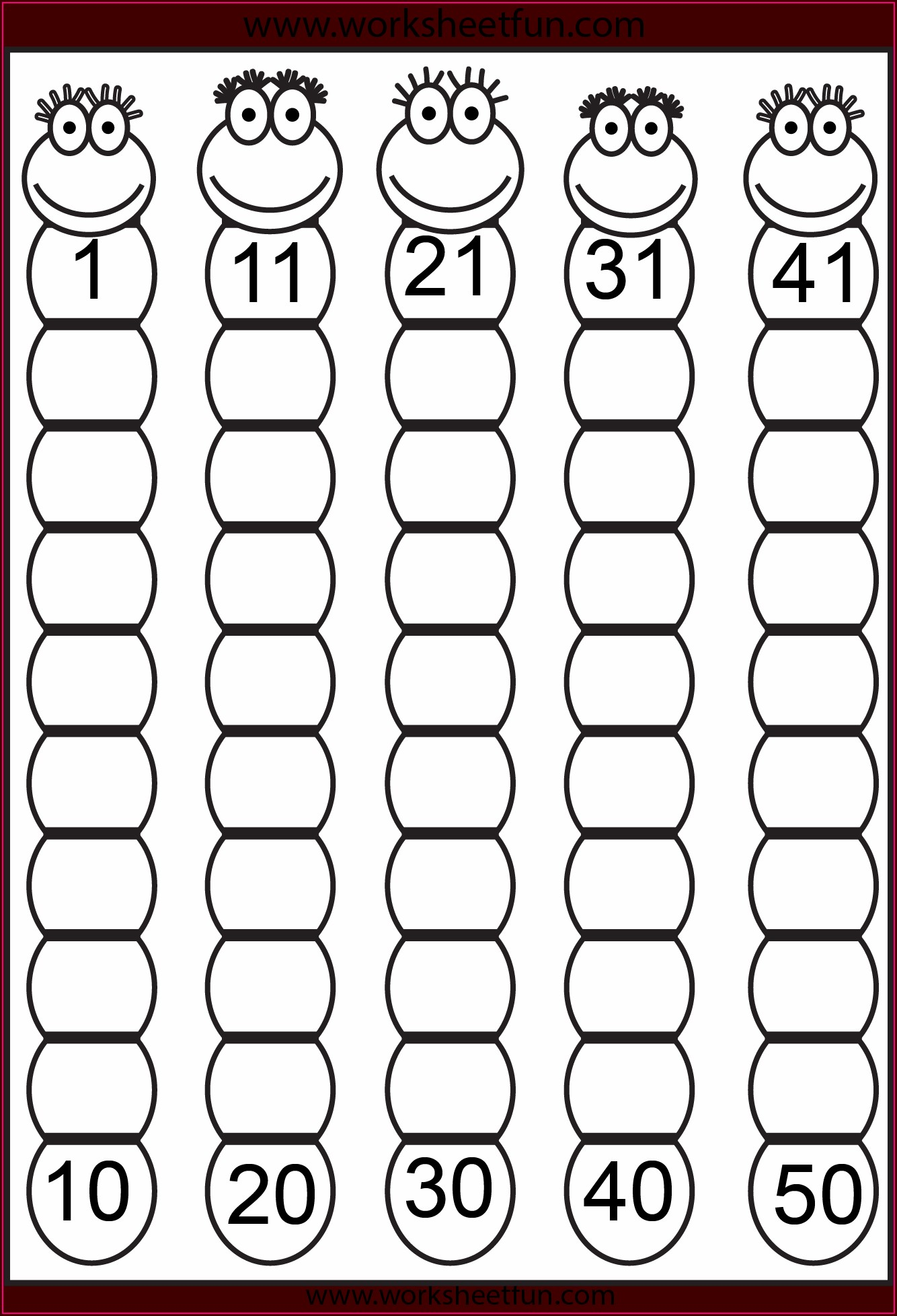 Kindergarten Missing Number Worksheets 1 50