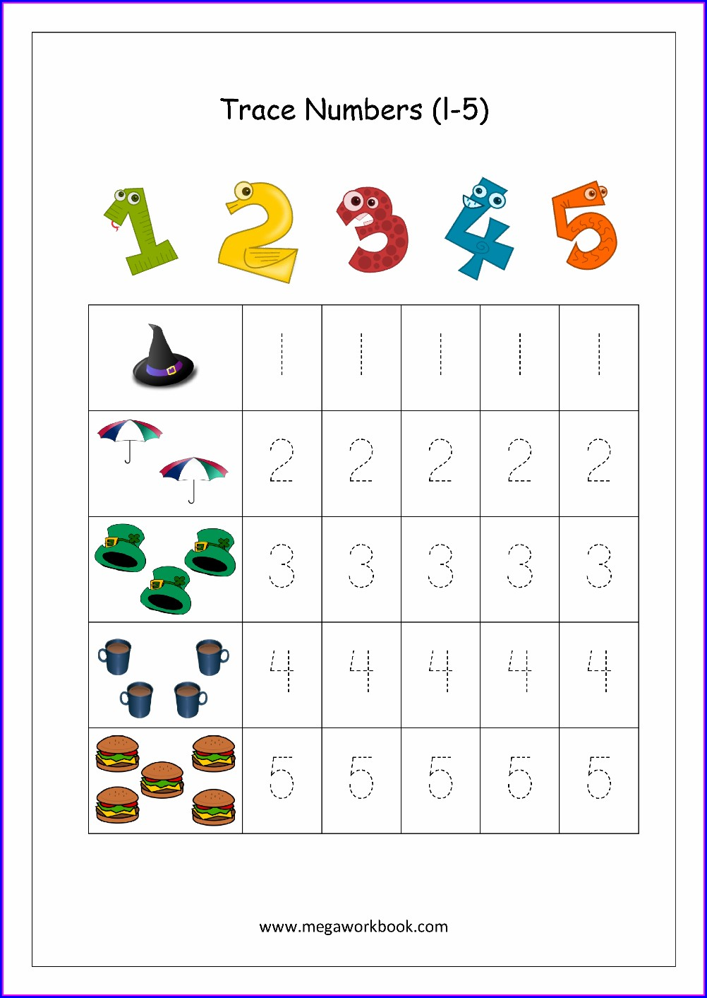 Kindergarten Number Words 6 10 Worksheets