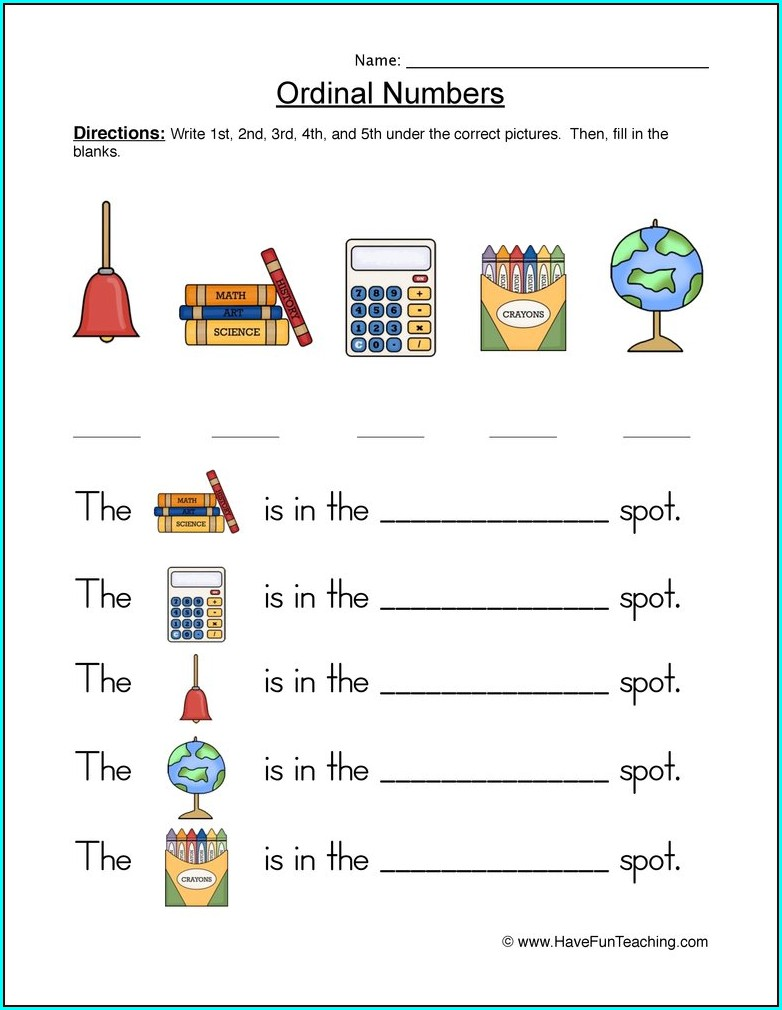 Kindergarten Ordinal Position Kindergarten Ordinal Numbers Worksheet