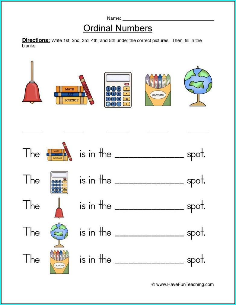 Kindergarten Ordinal Position Kindergarten Ordinal Numbers Worksheet
